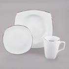 10 Strawberry Street Lotus Silver Line Porcelain Dinnerware