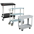 Two Shelf Plastic Bussing Carts and Transport Carts