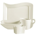 CAC Soho Wavy Edge Ivory (American White) China Dinnerware