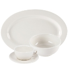 CAC Wide Rim Rolled Edge Ivory (American White) China Dinnerware