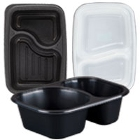 Plastic Microwaveable Two Compartment Take-Out Containers