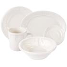 Tuxton Hampshire Embossed Rim Ivory (American White) China Dinnerware