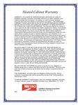 Metro's heated cabinet warranty Information