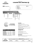 U Shaped Dishtable Spec Sheet