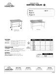 Sorting Table Spec Sheet