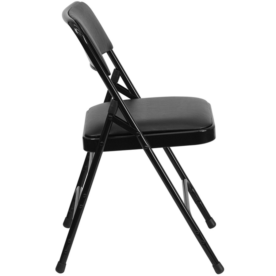 black metal folding chair with 1 padded vinyl seat. Black Bedroom Furniture Sets. Home Design Ideas