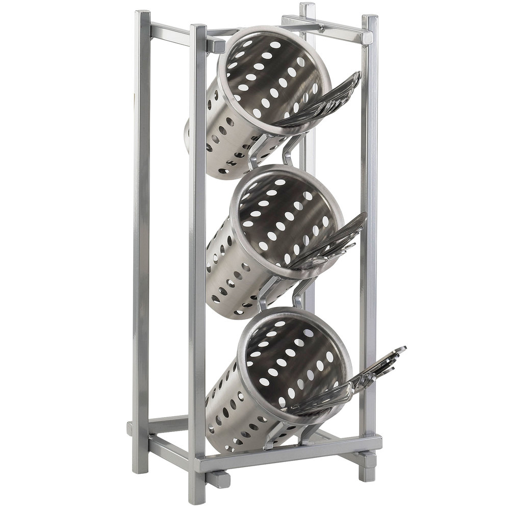 Cal mil 1134 74 silver one by one three compartment metal for Vertical silverware organizer