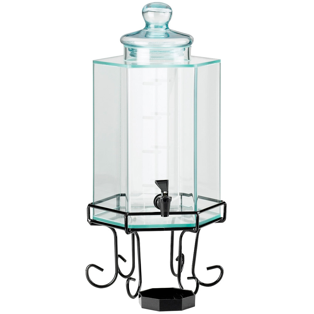 cal mil 1111a 2 gallon acrylic beverage dispenser with iron stand and glass lid. Black Bedroom Furniture Sets. Home Design Ideas