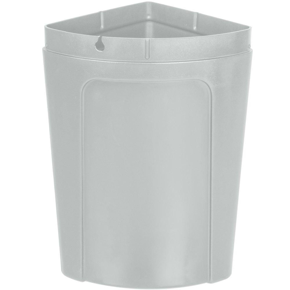 Continental 8325gy corner 39 round 21 gallon gray corner trash can with dome lid - Corner wastebasket ...