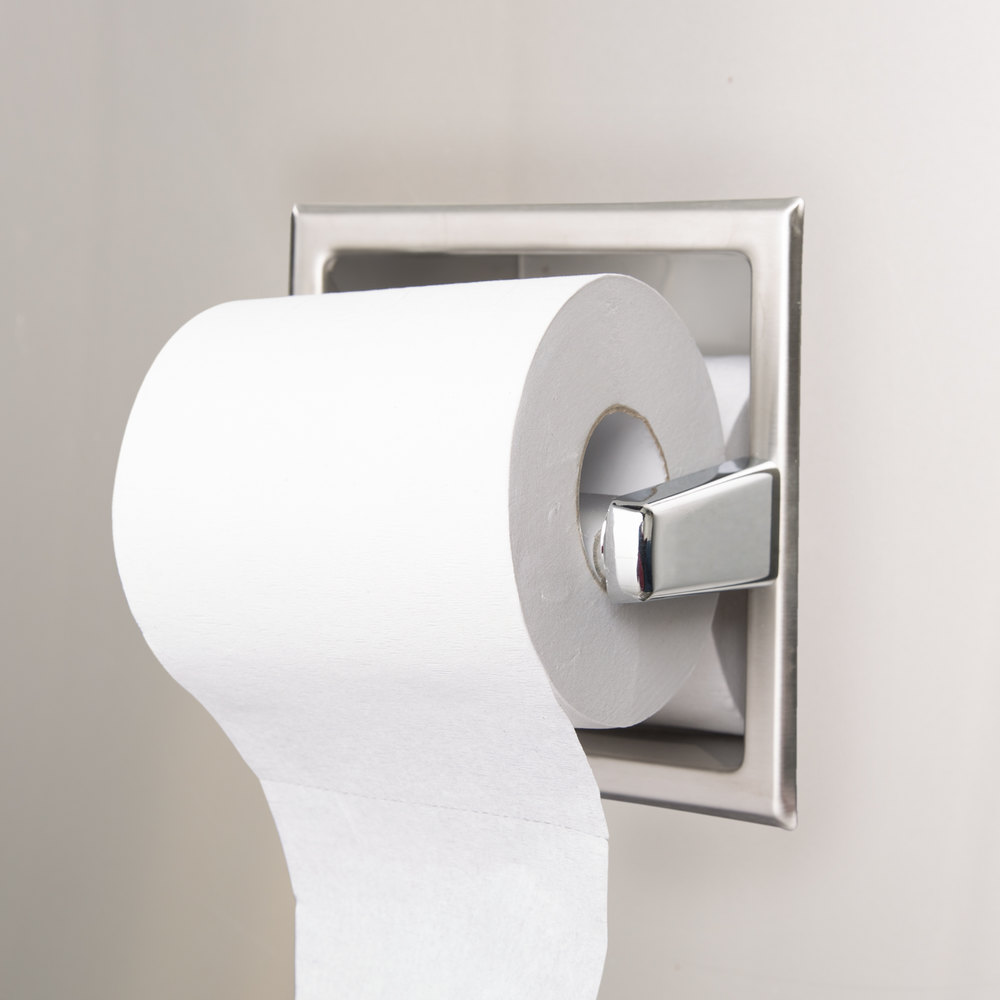Bobrick b 6637 recessed toilet tissue dispenser with storage for extra roll with satin finish - Recessed toilet paper dispenser ...