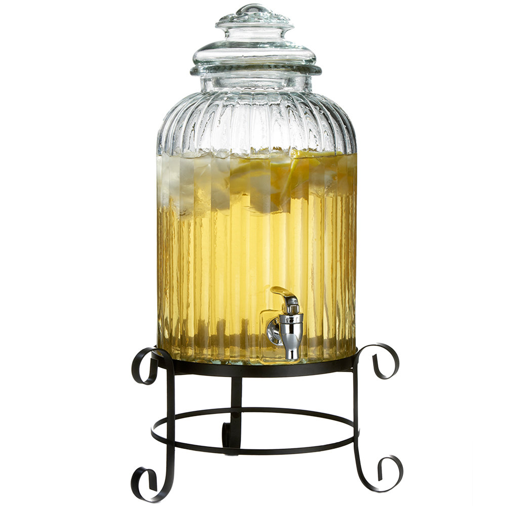 3 gallon springfield glass beverage dispenser with metal stand. Black Bedroom Furniture Sets. Home Design Ideas