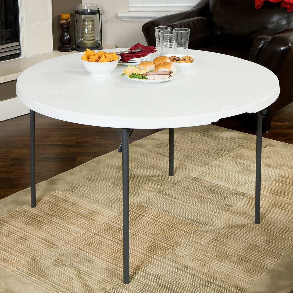 Fold In Half Round Table Lifetime Round Fold In Half Table 48 Plastic White Granite 280064
