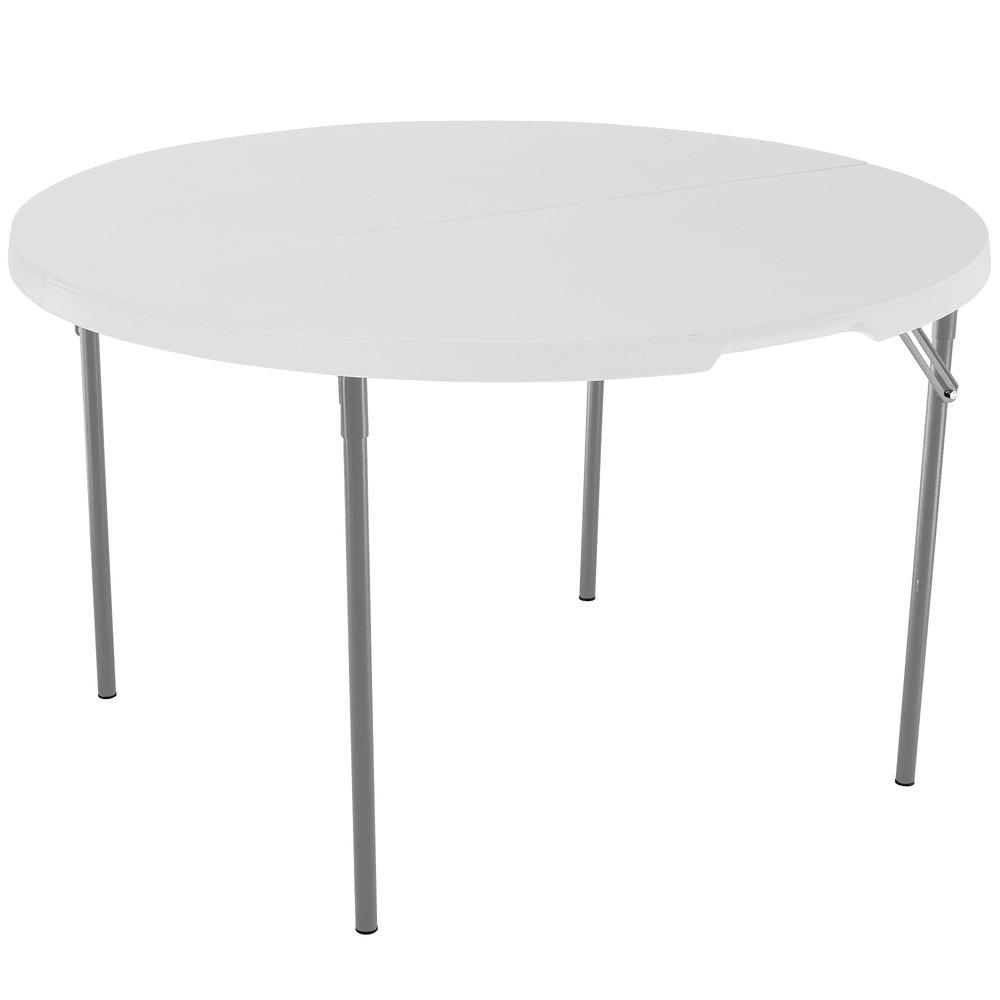 lifetime round fold in half table 48 plastic white granite 1