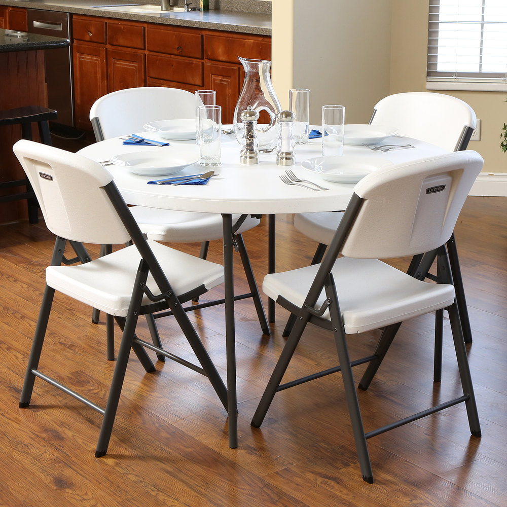 Fold In Half Round Table Lifetime Round Fold In Half Table 48 Plastic White Granite 10