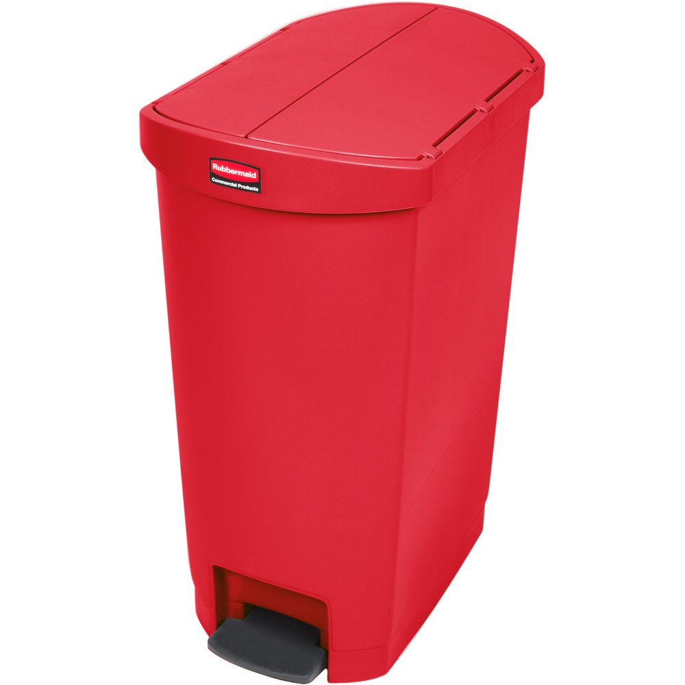 rubbermaid 1883567 slim jim resin red end step on trash can with rigid plastic liner 13 gallon. Black Bedroom Furniture Sets. Home Design Ideas
