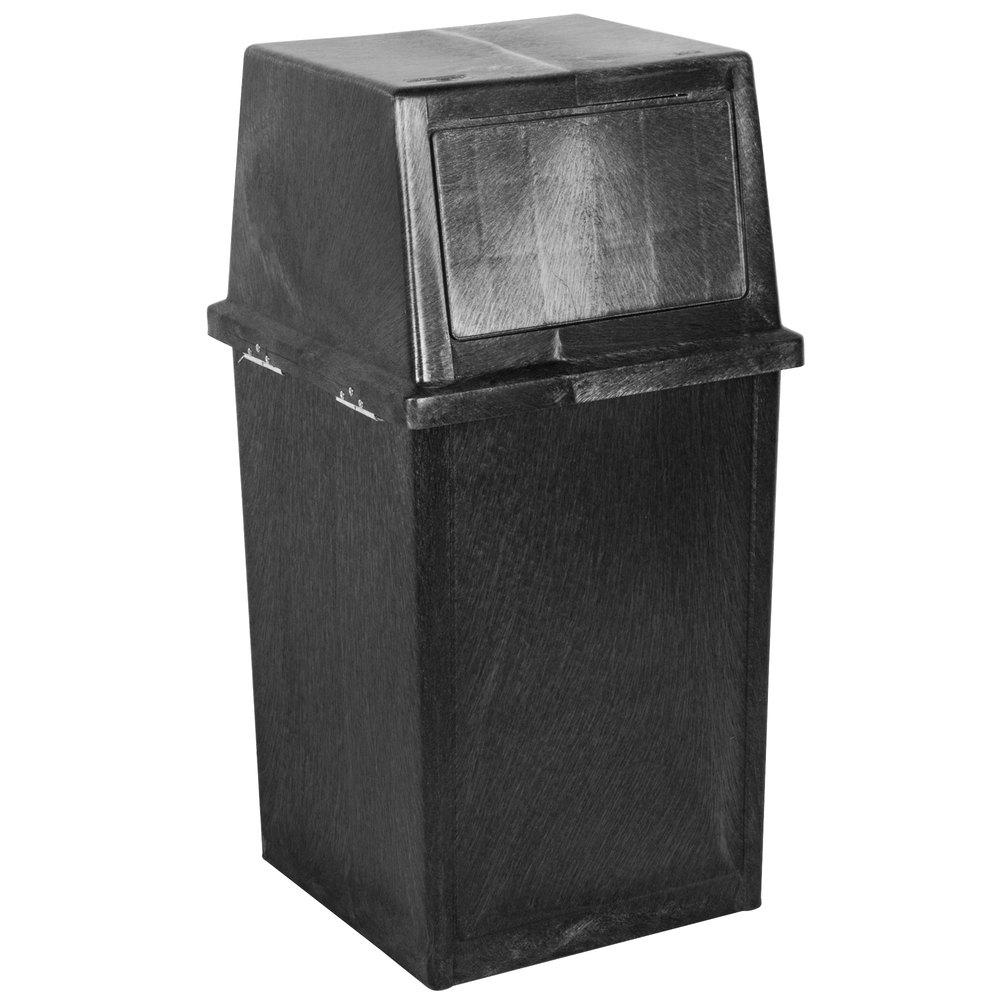 continental 5735bk king kan 35 gallon black waste receptacle with hinged lid. Black Bedroom Furniture Sets. Home Design Ideas