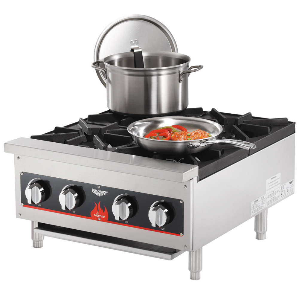 Countertop Stove Burners : Vollrath 40737 4 Burner Counter Top Hot Plate / Range Natural / LP Gas