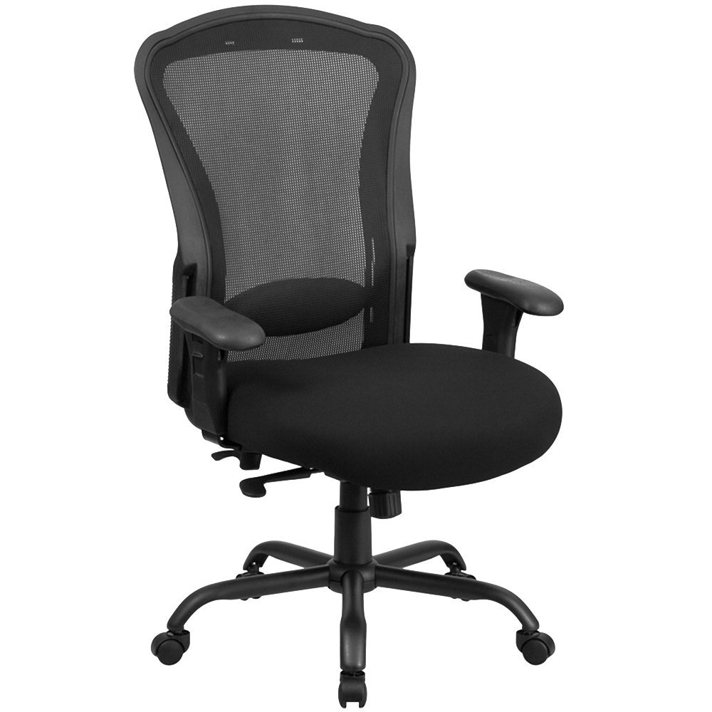 office chair with reinforced back support and adjustable pivot arms