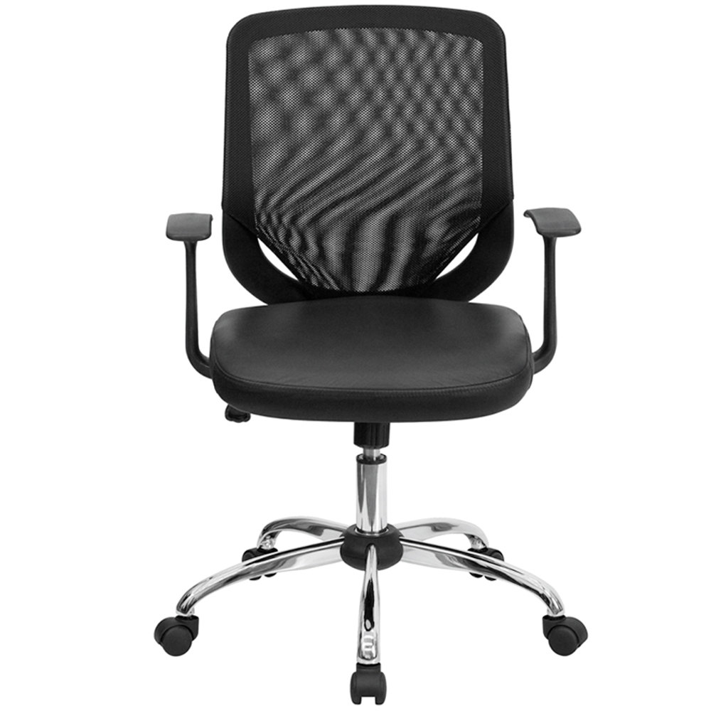 bk gg mid back black mesh office chair with mesh back and leather seat
