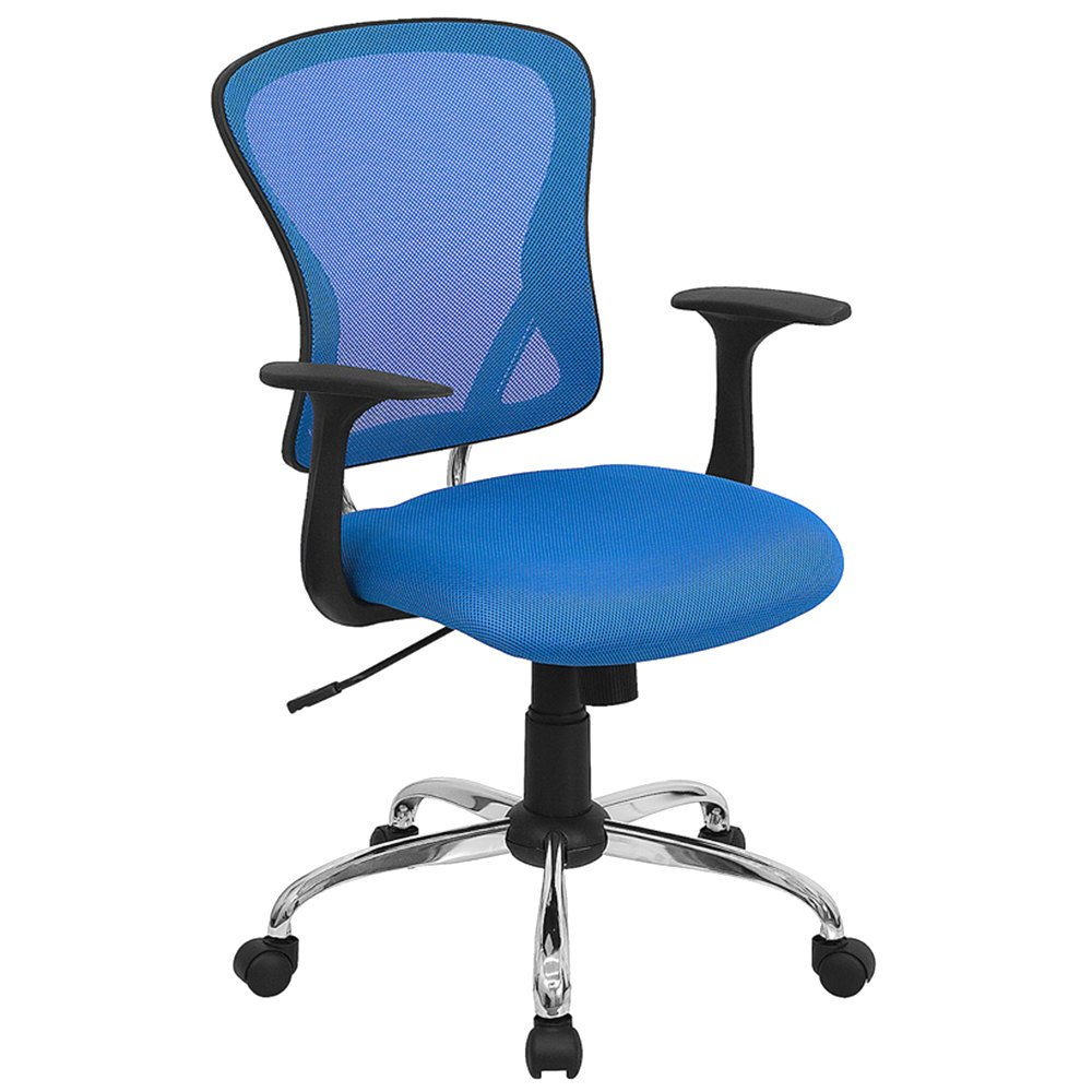 mid back blue mesh office chair with arms padded seat and chrome