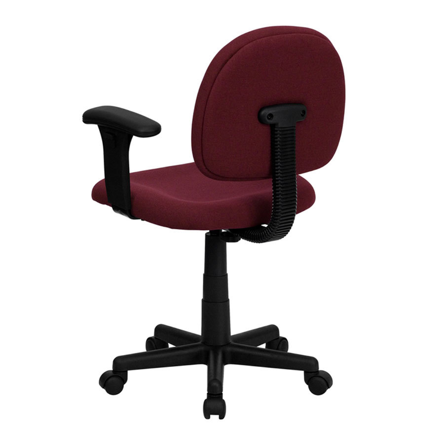 Mid Back Burgundy Ergonomic Office Chair Task Chair With Adjustable Arms