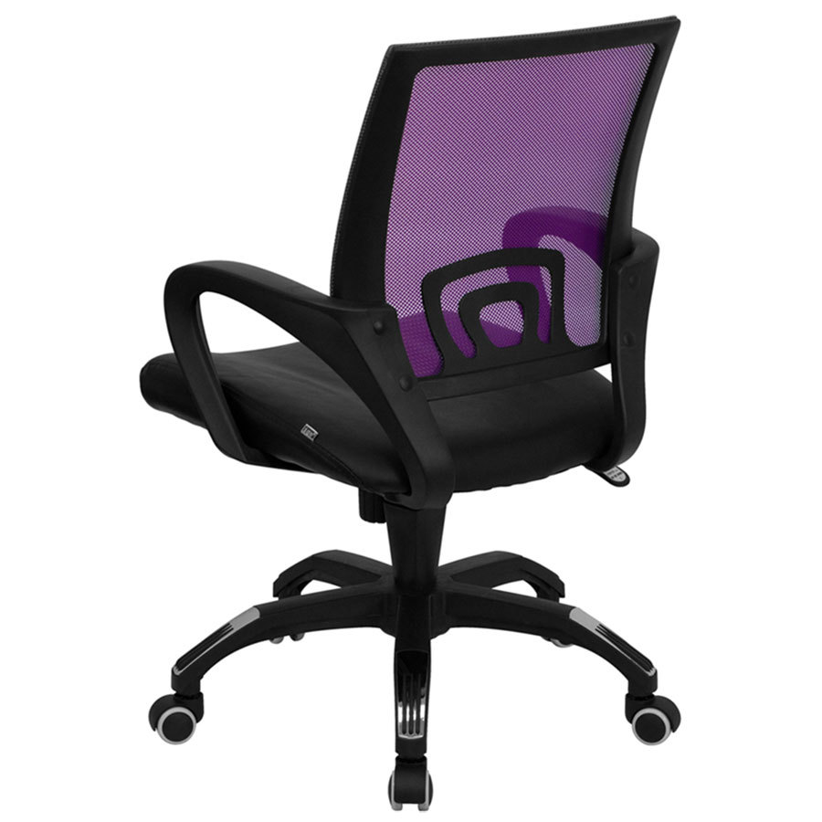 computer office chair with purple mesh back and black leather seat