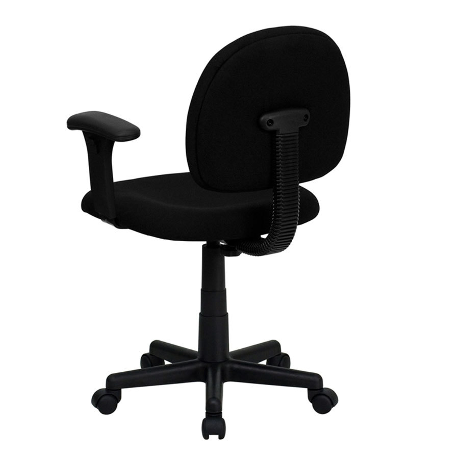 Mid Back Black Ergonomic Office Chair Task Chair With Adjustable Arms