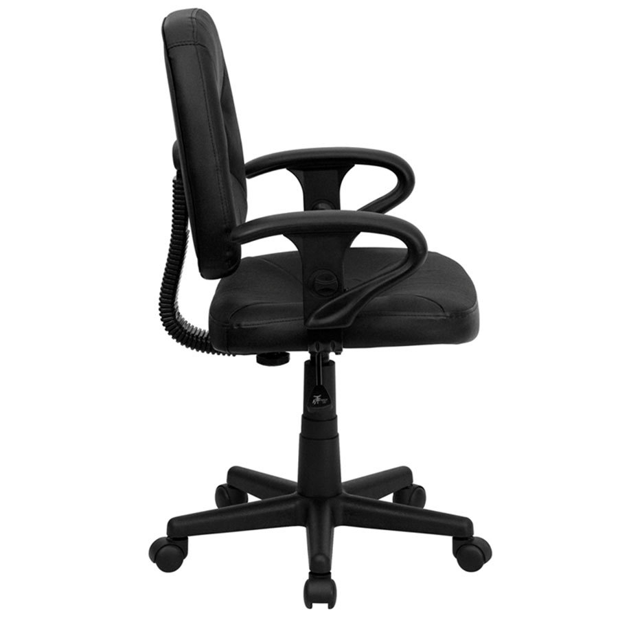 Mid Back Black Leather Ergonomic Office Chair Task Chair With Adjustable Arms