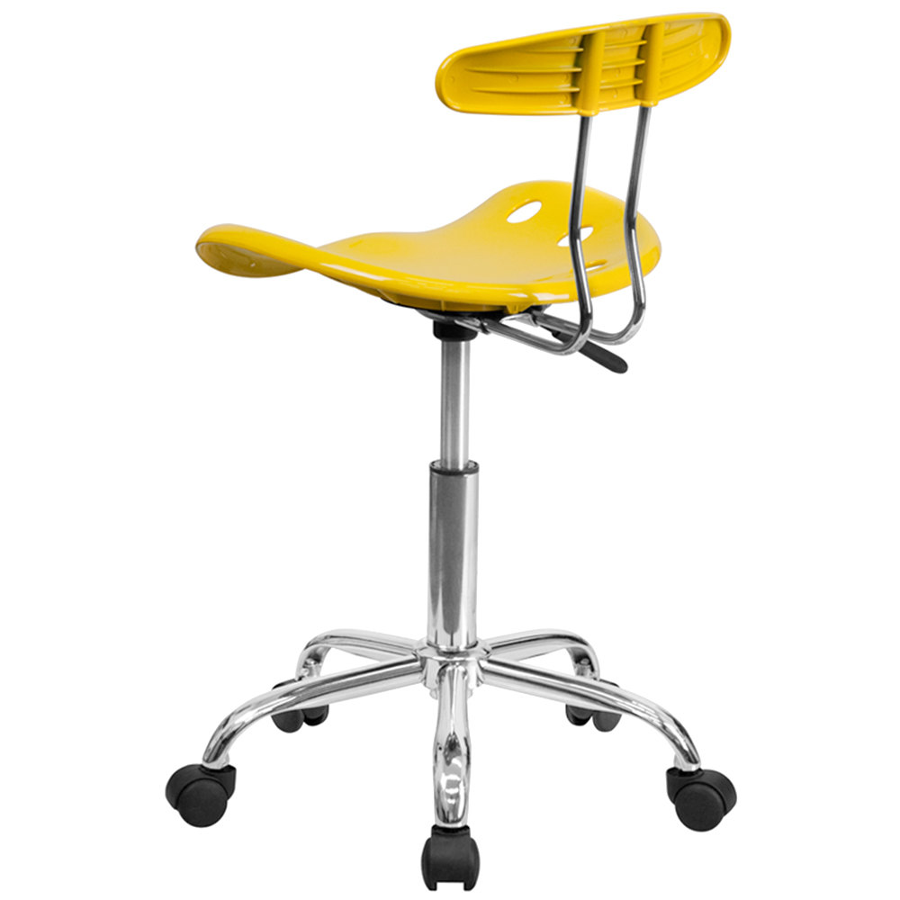 Tractor Seat Desk Chair : Yellow office task chair with tractor seat and chrome frame