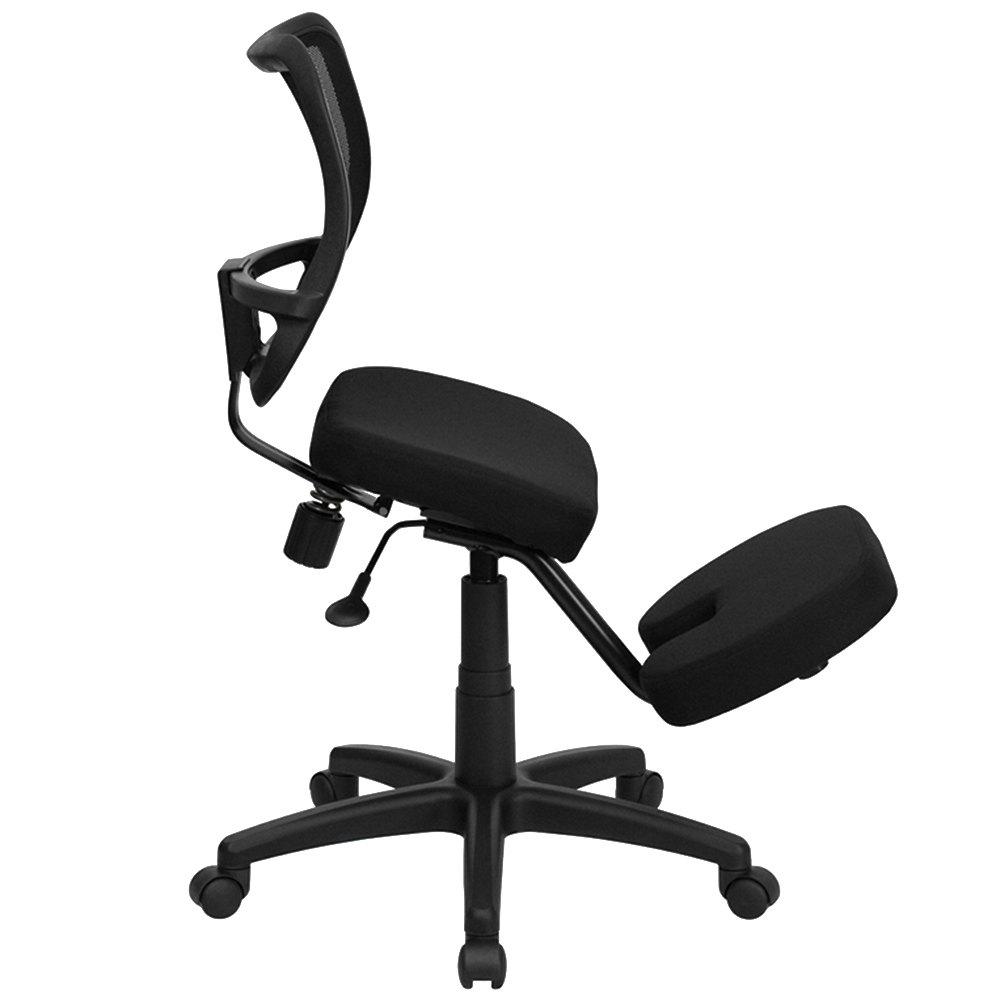 Black ergonomic mobile kneeling office chair with nylon for Ergonomic chair