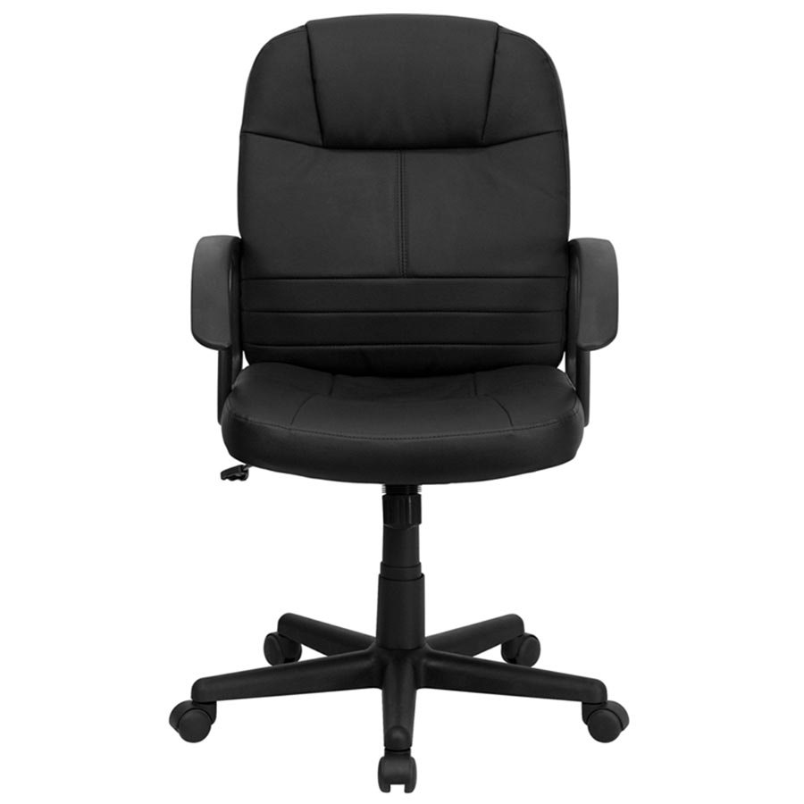 mid back black leather executive swivel office chair with