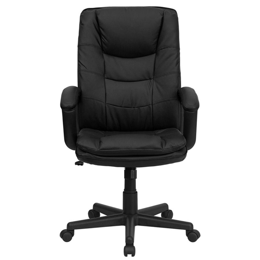 high back black leather executive swivel office chair with leather