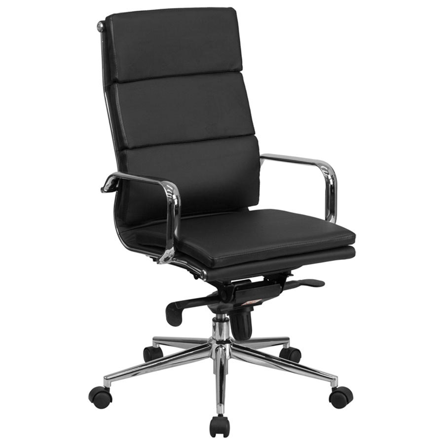 High Back Black Leather Executive Swivel Office Chair With Chrome Arms And Co