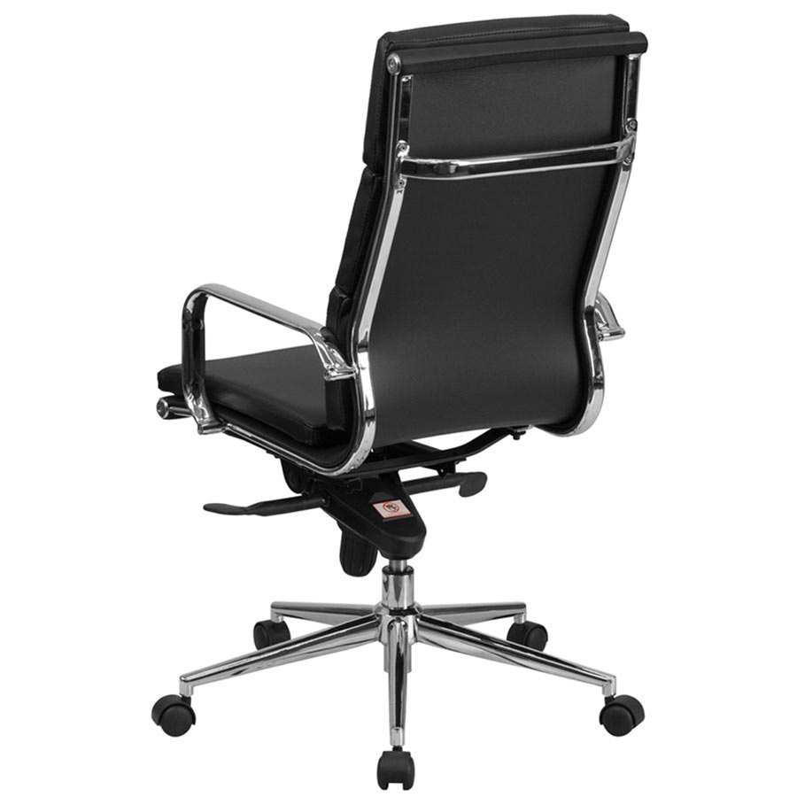 high back black leather executive swivel office chair with chrome arms