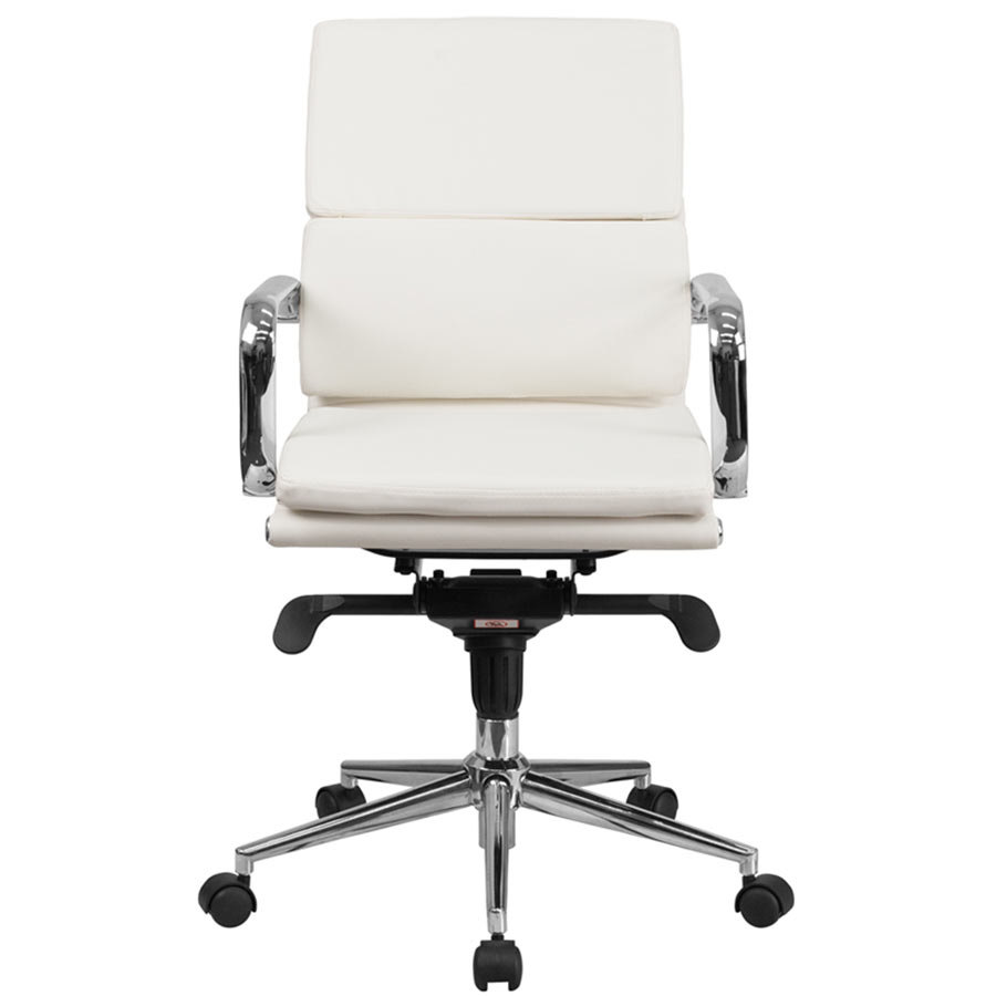 flash furniture bt 9895m wh gg mid back white leather executive swivel