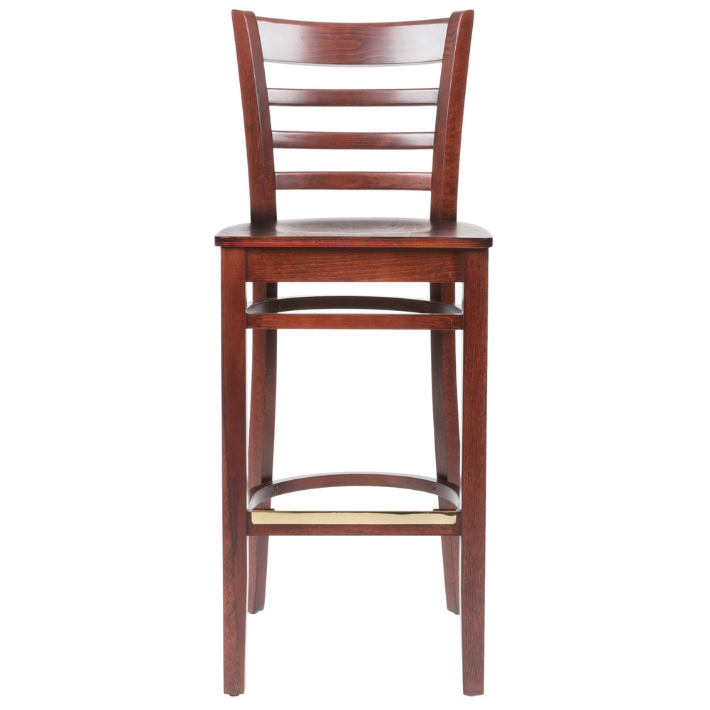 Counter Height Ladder Back Chairs : ... Table & Seating Mahogany Finish Wooden Ladder Back Bar Height Chair