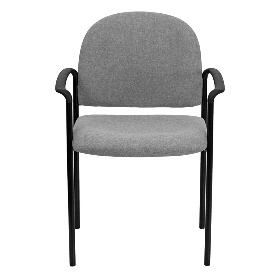 Gray fabric stackable side chair with arms