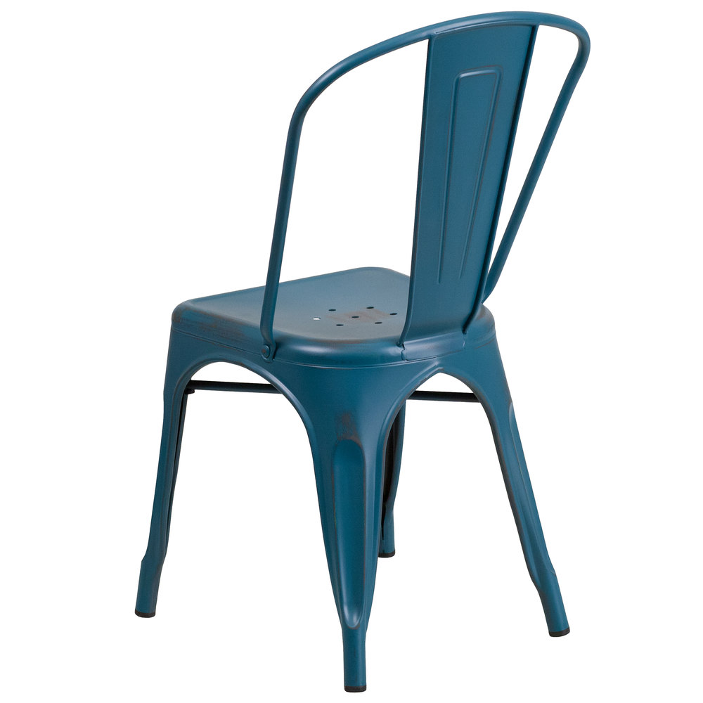 Distressed Kelly Blue Stackable Metal Chair With Vertical Slat Back And Drain Hole Seat