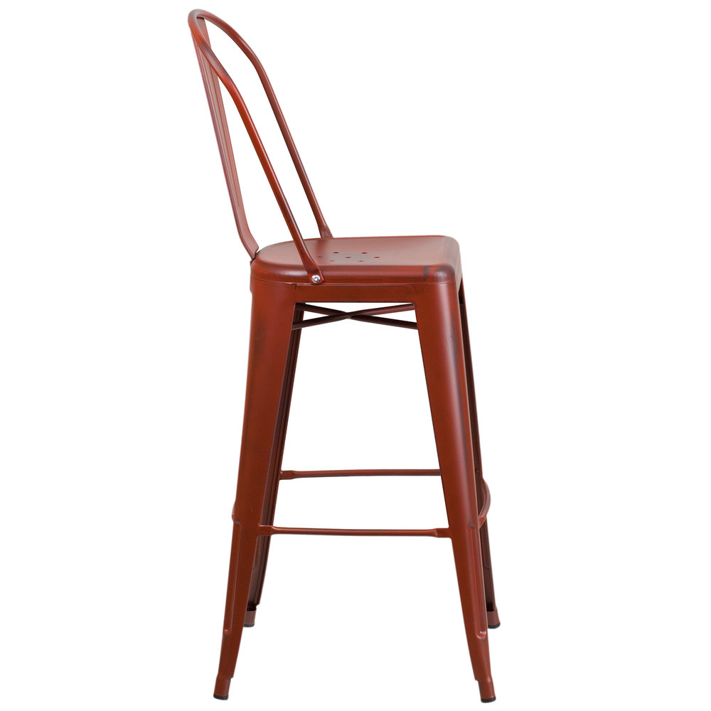Distressed Kelly Red Metal Bar Height Stool With Vertical