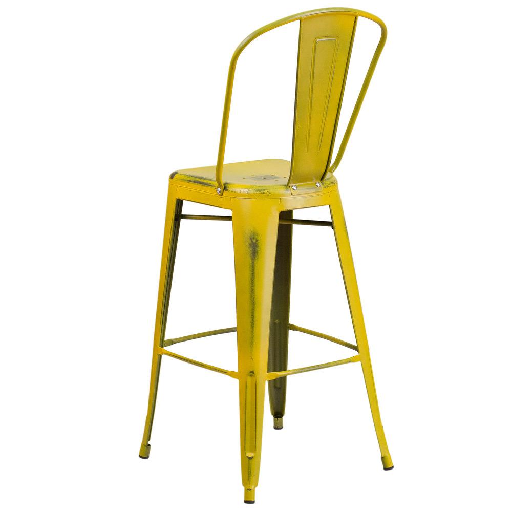 28 yellow metal bar stools set of 4 detroit curve back yell