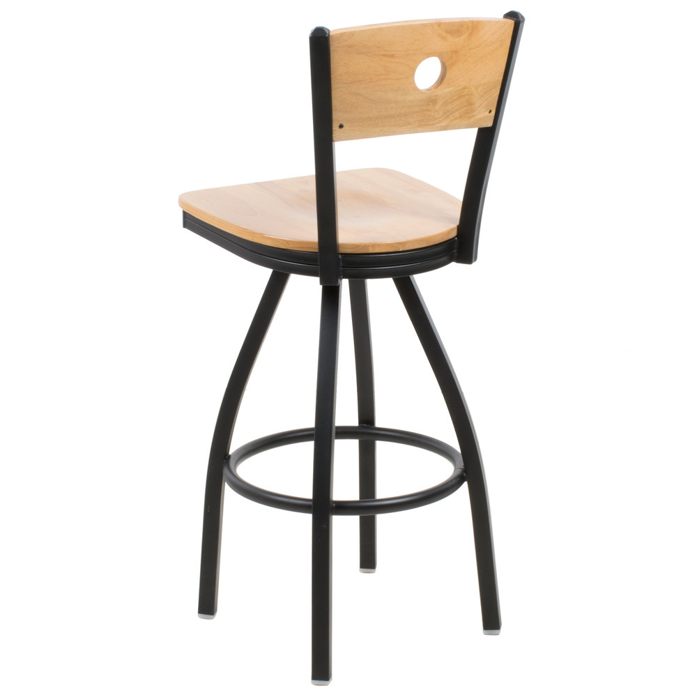 BFM Seating 2152SNTW NTSB Darby Sand Black Metal Bar Height Chair With Natura
