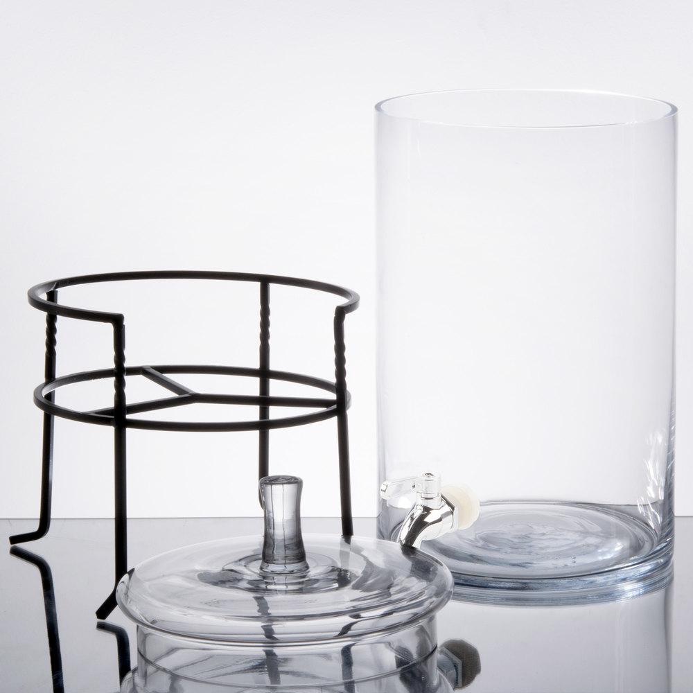 2 5 gallon round glass beverage dispenser with metal stand. Black Bedroom Furniture Sets. Home Design Ideas