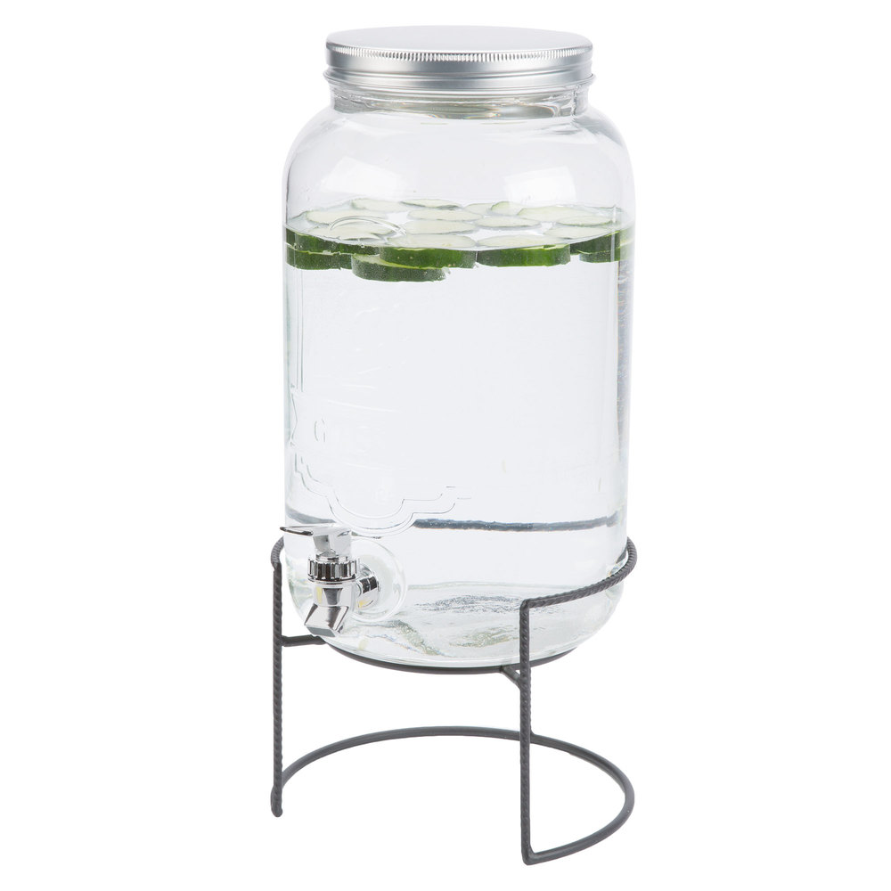 2 gallon style setter main street embossed glass beverage dispenser with metal stand. Black Bedroom Furniture Sets. Home Design Ideas