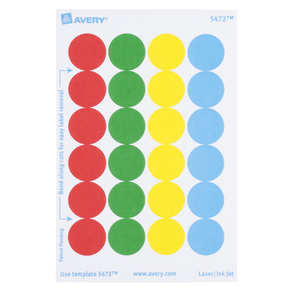 Avery AVE05472 3 4 Assorted Colors Round Removable Write