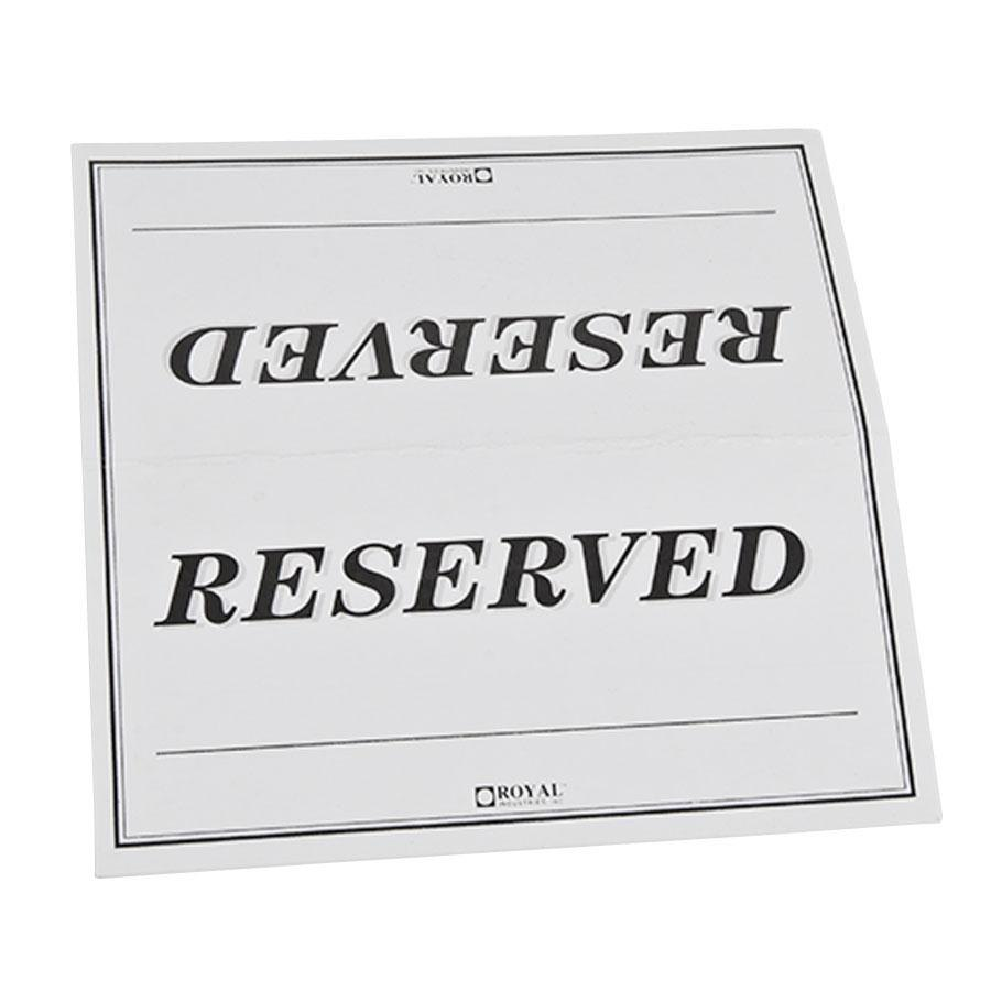 6 x 3 table tent sign reserved double sided 250 pack for Reserved seating signs template