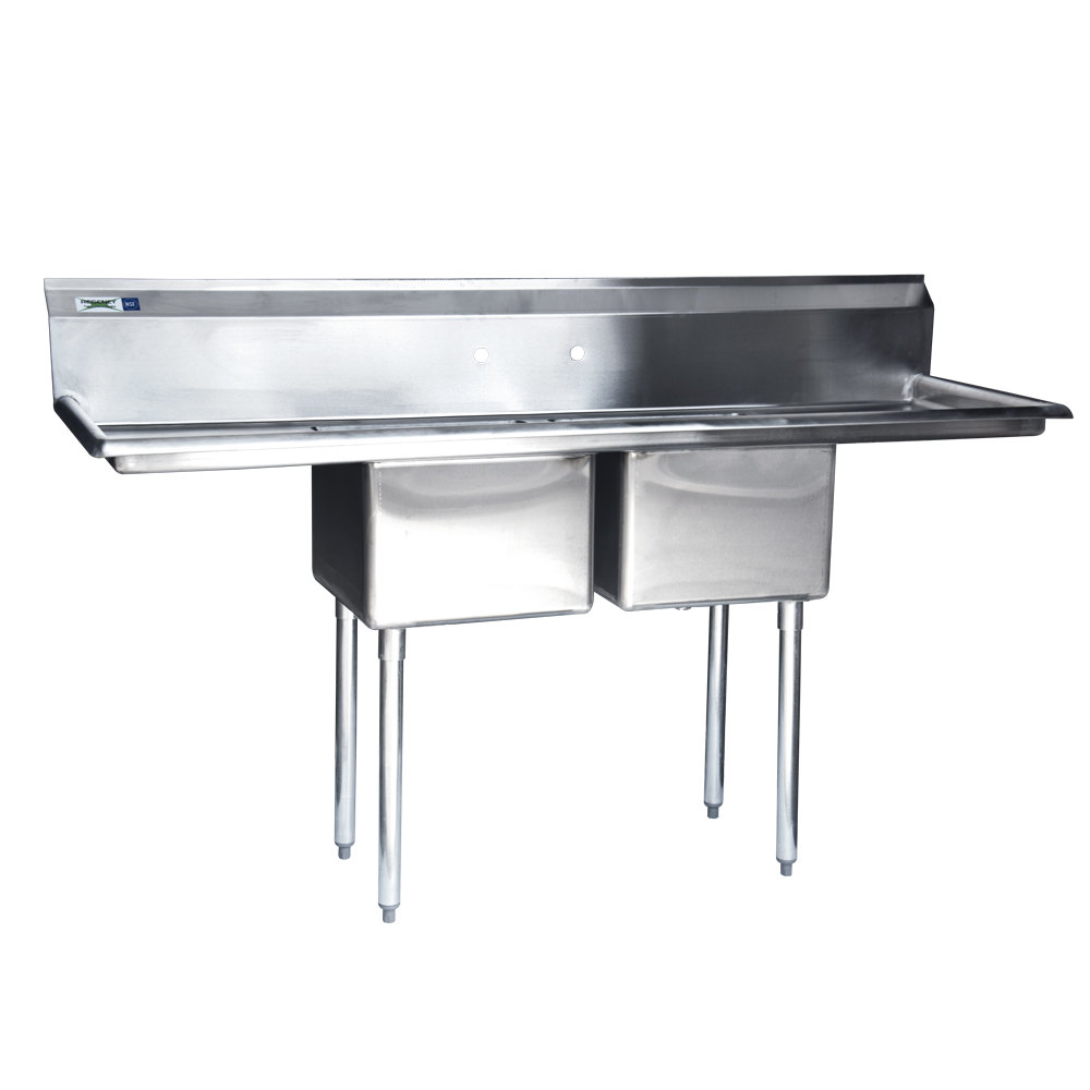 Stainless Steel Two Compartment Commercial Sink with 2 Drainboards ...