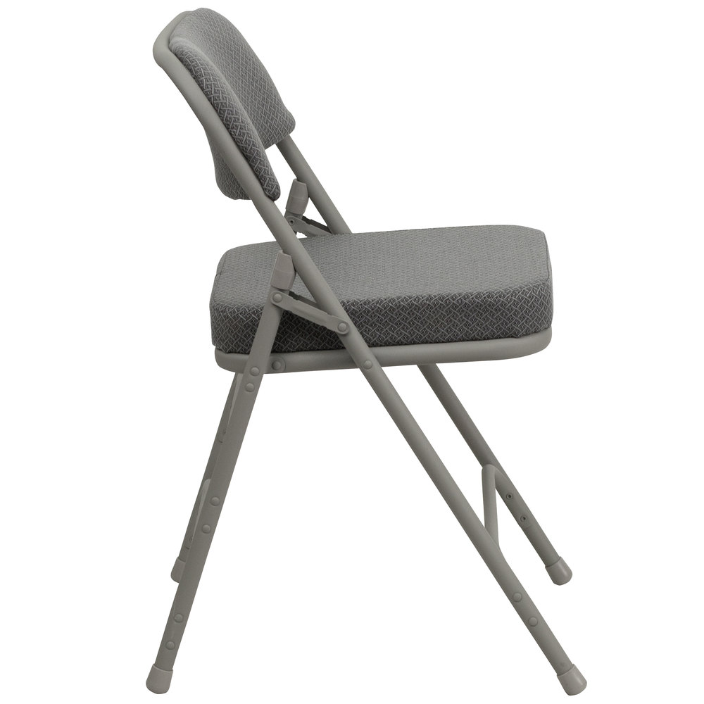 Gray Metal Folding Chair With 2 1 2 Quot Padded Fabric Seat