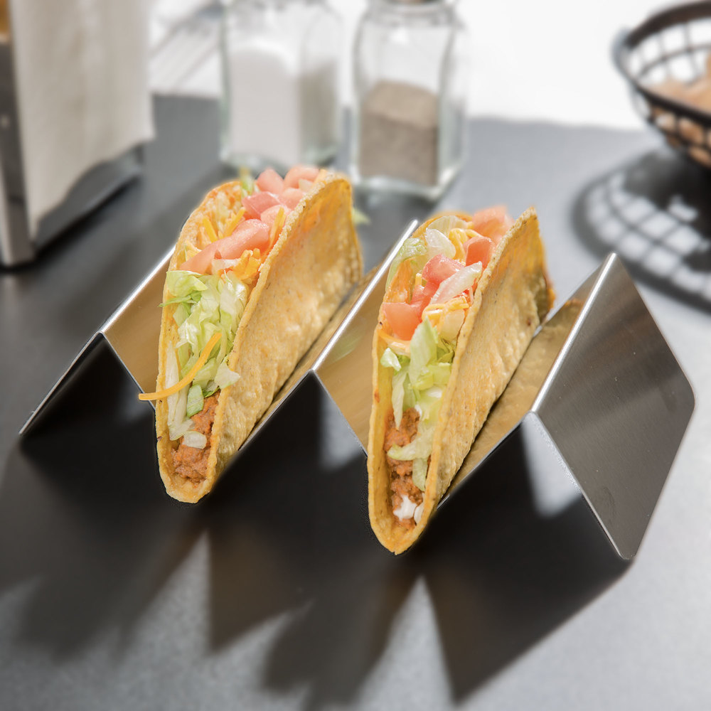 Stainless Steel Taco Holder With 2 Or 3 Compartments 4