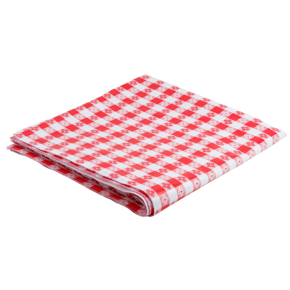 Cookbook Red Checkered Cover : Red checkered vinyl table cover with flannel back