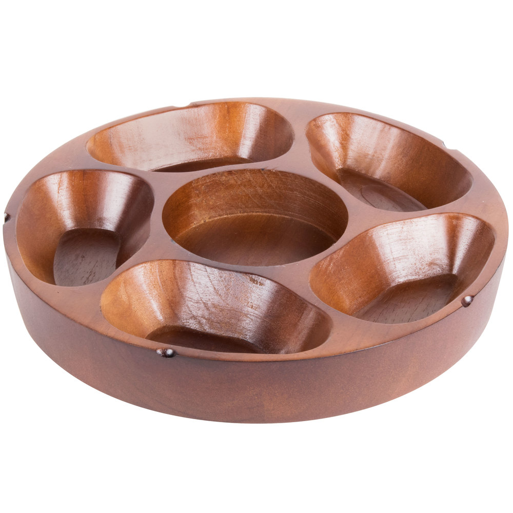 "Compartment Carved Wooden Pu Pu Platter 12"" Diameter"